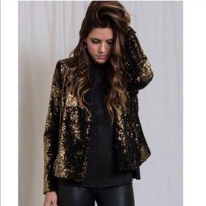Rachel Zoe Gold Sequin Jacket